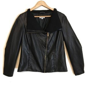 Calvin Klein | Moto Zip Up Faux Leather Jacket